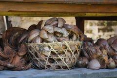 Coperture della noce di cocco nel canestro Immagine Stock Libera da Diritti