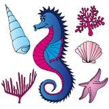 Coperture e piante del Seahorse Royalty Illustrazione gratis