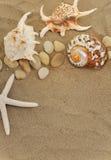 Coperture e pietre sulla sabbia fotografia stock