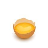 Coperture rotte dell'uovo con tuorlo Fotografie Stock