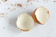 Coperture rotte dell'uovo sui precedenti bianchi Fotografie Stock