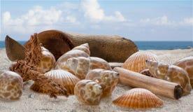 Coperture sulla sabbia con il contesto del mare e del cielo Fotografie Stock