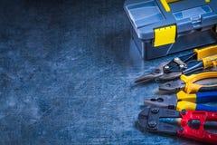 Copi l'immagine dello spazio delle pinze della trinciatrice per bulloni della cassetta portautensili e Fotografia Stock