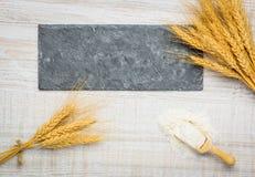 Copi lo spazio con grano e farina Fotografia Stock