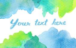 Copi lo spazio fra il fondo verde blu dell'acquerello illustrazione di stock