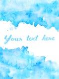 Copi lo spazio nel fondo blu dell'acquerello Immagini Stock