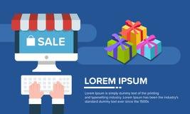 Copi lo spazio per testo Insegna di vendita di promozione e computer portatile del computer Immagini Stock
