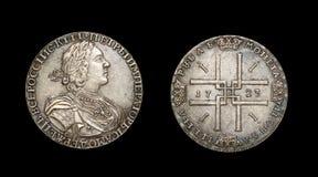 Copia de la moneda con el emperador ruso Peter I Fotografía de archivo libre de regalías