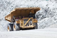 Huge dump trucks in an open pit Copper mine Royalty Free Stock Images