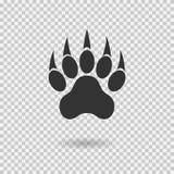 Copie animale de patte avec des griffes Patte de tigre avec l'ombre Graphisme de Web Empreinte de pas Images libres de droits