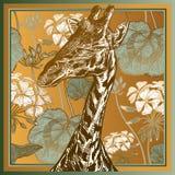 Copie animale Fleurs africaines principales de plan rapproché et de géranium de girafe illustration de vecteur