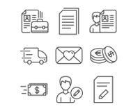 Copie arquivos, vaga e edite ícones da pessoa Transporte a entrega, a transferência de dinheiro e da entrevista de trabalho sinai ilustração do vetor
