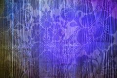 Copie bleue de fleur dans le plancher en bois photo stock