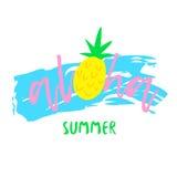 Copie d'abrégé sur été avec le texte aloha et l'ananas sur le fond blanc Illustration pour des T-shirts Vecteur Image stock