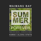 Copie d'Hawaï avec l'illustration de palmier pour le T-shirt, vecteur Image stock