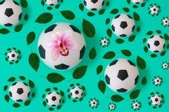 Copie de ballon de football avec les feuilles vertes illustration libre de droits