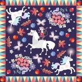 Copie de Bandana avec les animaux mignons de bande dessinée - licornes, cheval et singe gai - sur le fond botanique illustration stock