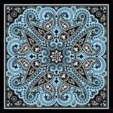 Copie de bandana de vecteur avec l'ornement de Paisley Foulard de coton ou de soie, conception carrée de modèle de foulard, style Photographie stock