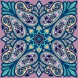 Copie de bandana de vecteur avec l'ornement de Paisley Foulard de coton ou de soie, conception carrée de modèle de foulard, style Photo libre de droits