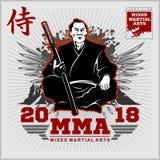 Copie de club de combat avec des samouraïs et le katana Photos stock
