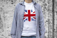 Copie de drapeau du Royaume-Uni sur le T-shirt Photo stock