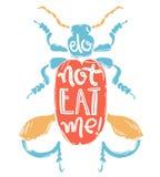Copie de griffonnage de vecteur avec le grand insecte tropical décoratif Ne mangez pas m illustration stock
