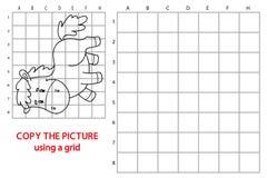 Copie de grille avec le cheval de bande dessinée Photographie stock