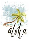 Copie de l'océan pacifique d'été d'aquarelle de vintage avec la conception, les palmiers et le lettrage de typographie illustration libre de droits