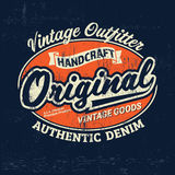Copie de logo de marque de denim de vintage de typographie pour le T-shirt Rétro illustration Photo libre de droits