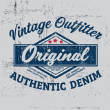 Copie de logo de marque de denim de vintage de typographie pour le T-shirt Rétro illustration Photographie stock