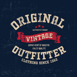 Copie de logo de marque de denim de vintage de typographie pour le T-shirt Rétro illustration Photo stock