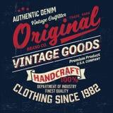 Copie de logo de marque de denim de vintage de typographie pour le T-shirt Rétro illustration Image stock