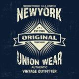 Copie de logo de marque de denim de vintage de typographie pour le T-shirt Rétro illustration Images stock