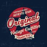 Copie de logo de marque de denim de vintage de typographie pour le T-shirt Rétro illustration Photographie stock libre de droits