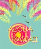 Copie de mode de T-shirt avec le lettrage, les palmettes, la mouette et le soleil d'Aloha Hawaii Conception plate Images stock