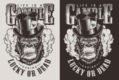 Copie de T-shirt avec le concept de gorille illustration stock