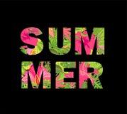 Copie de T-shirt avec le lettrage floral d'été d'isolement sur le fond noir Photo stock