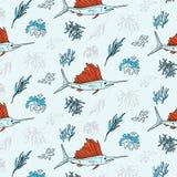 Copie de textile de contraste d'espadons et d'algue Modèle sous-marin de la vie de vecteur Éléments d'usines et de poissons d'Oce Images stock