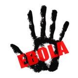 Copie des textes d'Ebola en main illustration stock