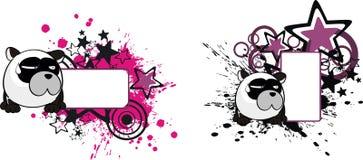 Copie drôle space2 de bande dessinée de style de boule d'ours panda illustration de vecteur