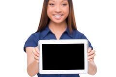 Copie el espacio en su tableta Imagenes de archivo