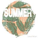 Copie exotique tropicale d'été de vintage pour le T-shirt avec le slogan Photographie stock libre de droits