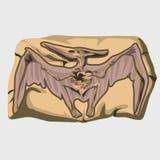 Copie fossilisée de ptérodactyle sur la pierre illustration libre de droits
