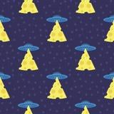 Copie futuriste abstraite avec les soucoupes volantes, rayons de lumière avec du fromage Images stock