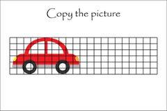 Copie a imagem, carro no estilo dos desenhos animados, treinamento de habilidades de tiragem, jogo de papel educacional para o de ilustração stock