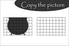 Copie a imagem, potenciômetro do Dia das Bruxas, jogo de papel educacional para o desenvolvimento das crianças, crianças atividad ilustração do vetor
