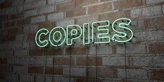 COPIE - Insegna al neon d'ardore sulla parete del lavoro in pietra - 3D ha reso l'illustrazione di riserva libera della sovranità illustrazione di stock