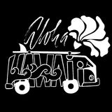 Copie noire et blanche de ressac d'Aloha Hawaii Lettrage tiré par la main avec un monospace Illustration d'autobus de vecteur Aff Photo libre de droits