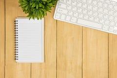 Copie o livro do espaço e teclado e árvore vazios no ângulo de visão superior Imagem de Stock Royalty Free