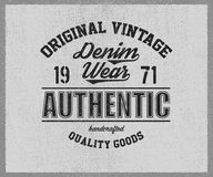 Copie originale de denim de vintage pour le T-shirt Photos libres de droits